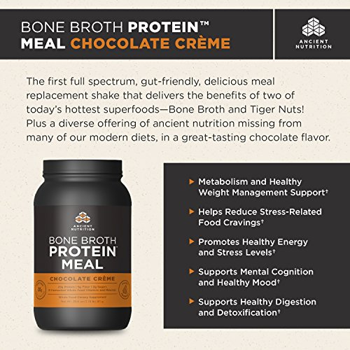 Ancient Nutrition Bone Broth Protein MEAL, Chocolate Crème Flavor, 20 Servings Size All Natural Meal Replacement Shake with 21 Whole Food Vitamins and Minerals