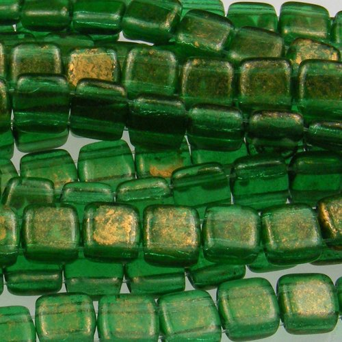 Czechmate 6mm Square Glass Czech Two Hole Tile Bead - Gold Marbled/Green - Em Square