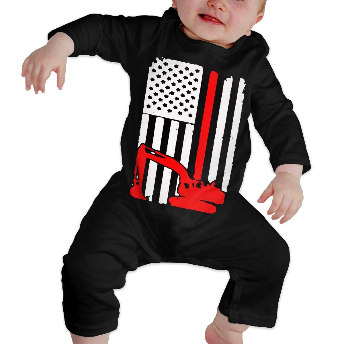 UGFGF-S3 Excavator and American Flag Toddler Baby Long Sleeve Romper Jumpsuit Bodysuits Onsies