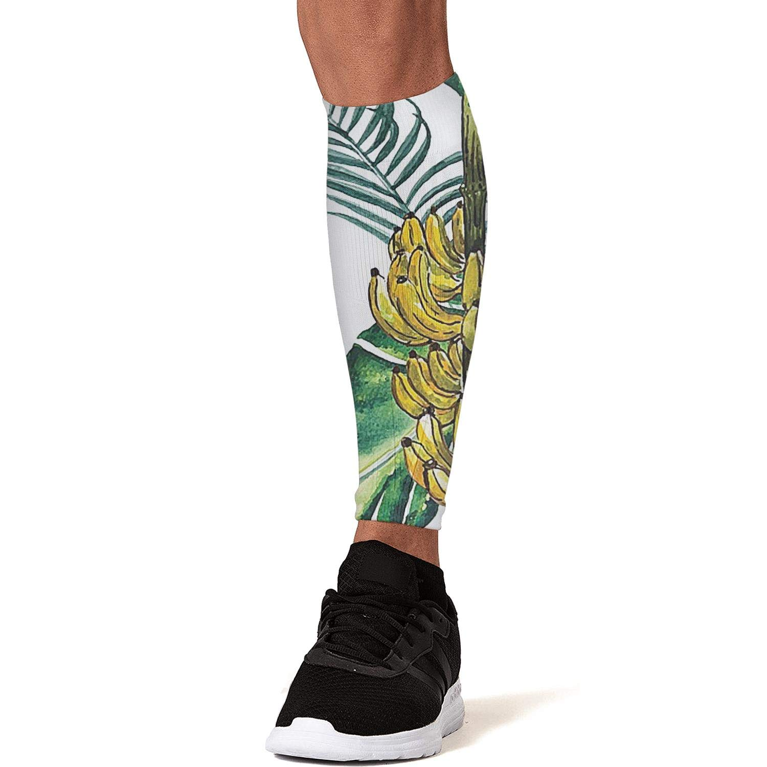 Smilelolly Tropical Banana Leaves Calf Compression Sleeves Helps Pain Relief Leg Sleeves for Men Women