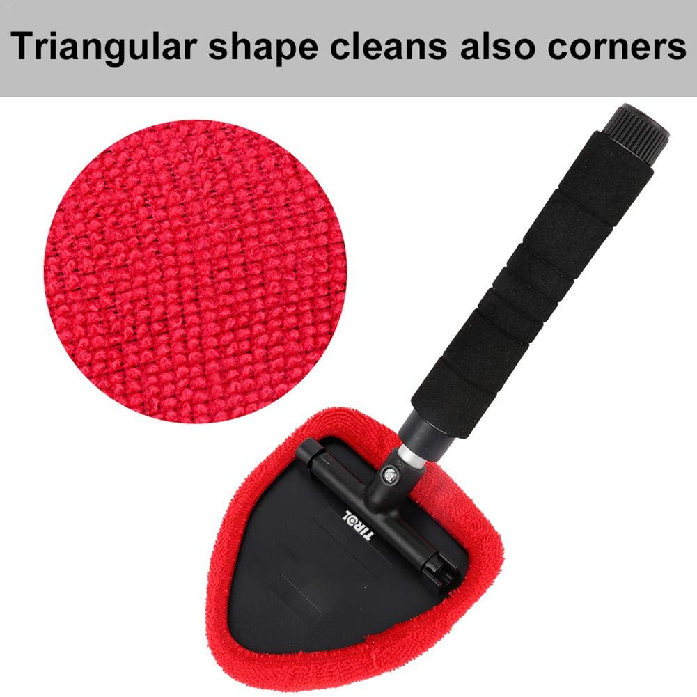 Extendable Handle Window Cleaner Brush Kit Car Windshield Cleaning Brush Microfiber Window Scraper Cleaner Wipe Tool from Inside Window Glass Cleaning Tool for Home Bedroom IMSHIE