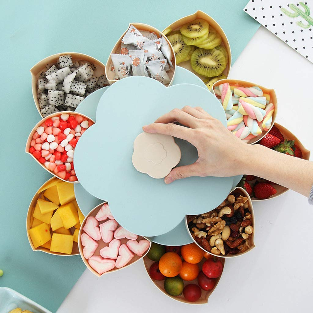 Bloom Snack Box Double-Layer Flower Rotating Food Storage Container Multi Sectional Snack Serving Tray Bowl Box for Nuts, Candies, Chocolate Cute Creative Party Favor by DaoAG (Image #3)