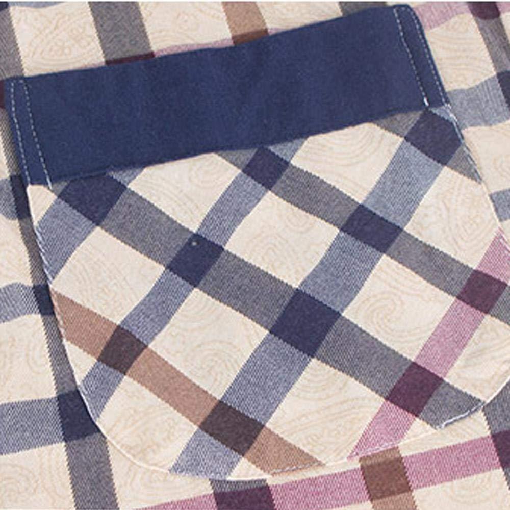 AKARMY Mens Short Sleeve Kimono Collar Plaid Cotton Robe Lightweight Bathrobe Loungewear Sleepwear