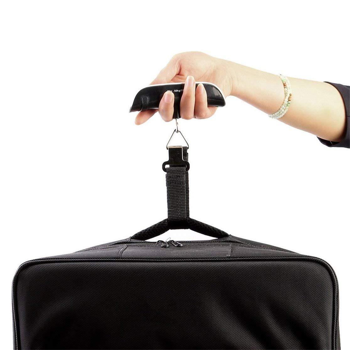 Colore: argento 110 lb Bilancia elettronica portatile digitale LCD per appendere peso Scala per bagagli per bagaglio Borsa da viaggio valigia 50 kg