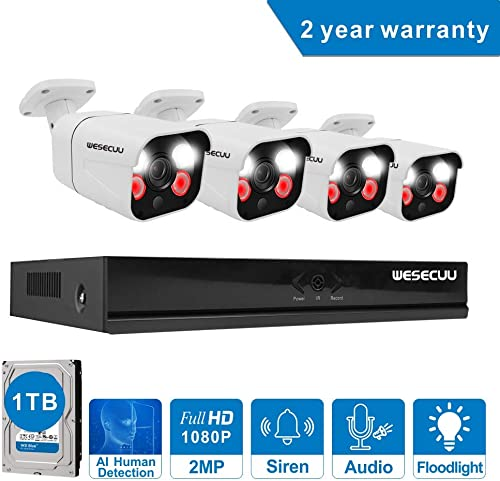 PoE Home Security Camera System,WESECUU 1080P 8CH Surveillance NVR System with 1TB Hard Drive,4PCS Outdoor PoE Cameras with Floodlight,Color Night Vision,Two Way Talk,AI Human Detection,Siren Alarm