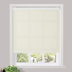 TWOPAGES Cordless Roller Shades Custom Made Waterproof UV Protection Enery Saving Window Shades Blinds for Home, Hotel, Club, Beige