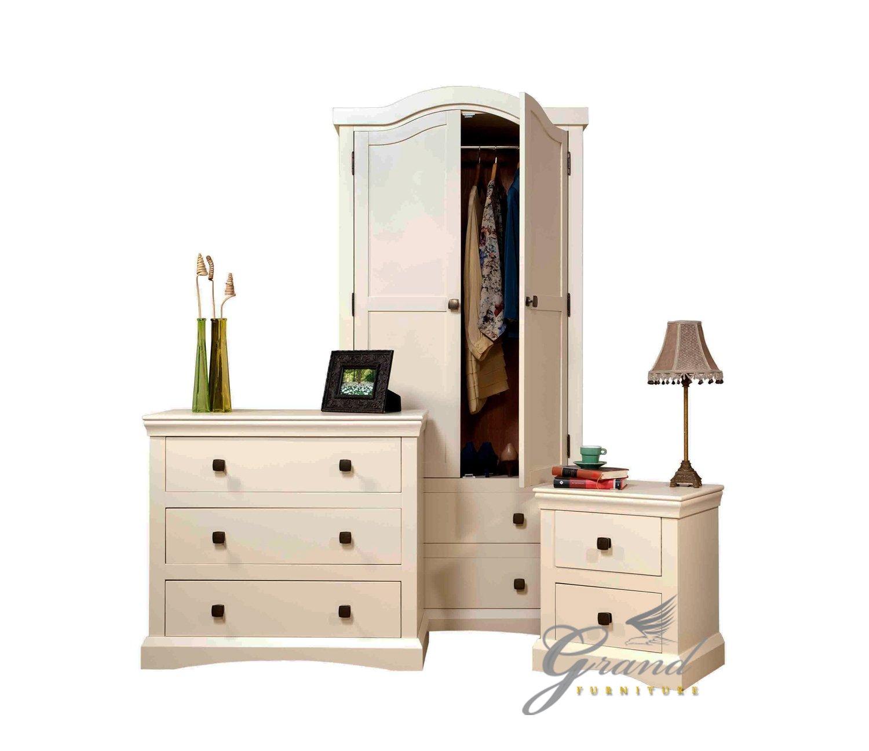 Quartz Bedroom Furniture Set Cream French Style Bedside Tables