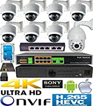 USG H.265 Sony DSP PTZ 5MP Ultra 4K 8 Camera Security System PoE IP CCTV Kit : 7x 5MP IP PoE 2.8-12mm Dome + 1x 2MP IP PTZ Speed Dome 5-90mm + 1x 5MP 24ch NVR + 2x PoE Switch + 1x PTZ PoE + 1x 6TB