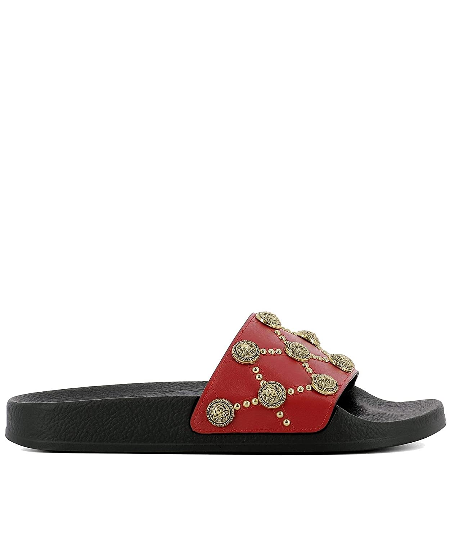 - Balmain Women's S8FC208PSBL132 Red Leather Sandals