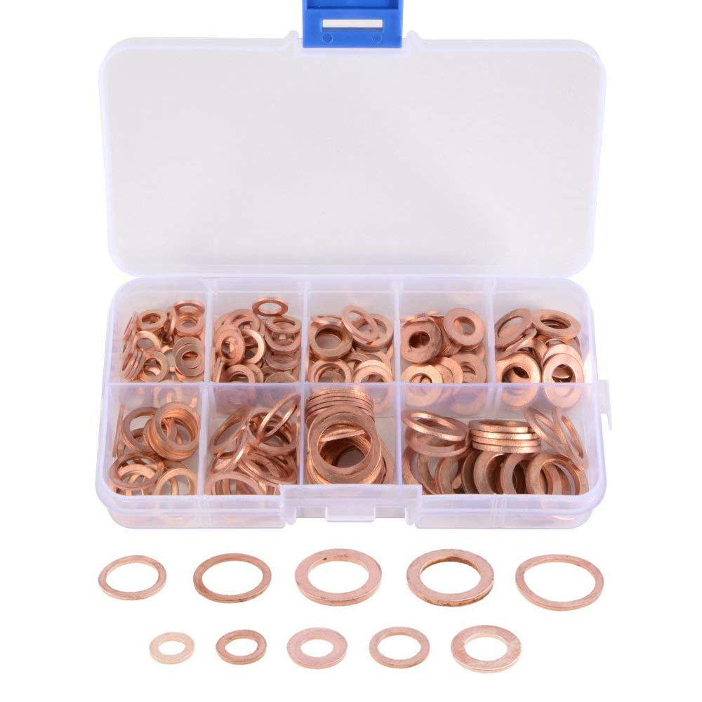 Gasea 200pcs M5-M14 9 Sizes Copper Washer Flat Gasket Sealing Ring Assortment Kit for Hardware Accessories