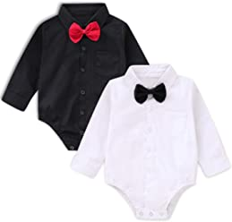 5dae2bff14 SOBOWO Baby Boys  Dress Shirt Bodysuit