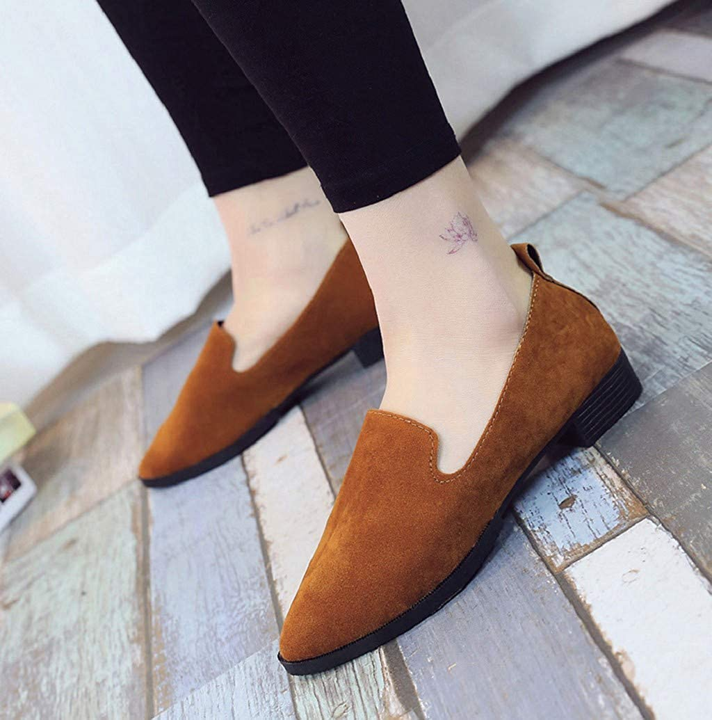 Comfortable Flats Shoes for Women Suede Pointy Toe Slip On Loafer Ladies Office Shoes with Low Heel by Nevera