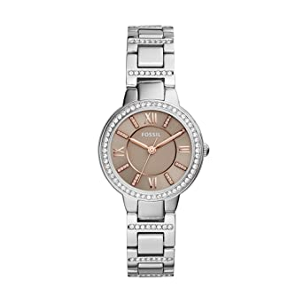 2d2ba6c3657 Amazon.com  Fossil Women s Virginia Quartz Stainless Steel Dress ...