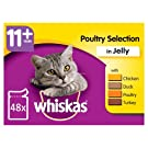 whiskas 11+ Cat Pouches Poultry Selection in Jelly 12 x 100g (Pack of 4, Total 48 Pouches)