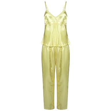 c2f9e79466 Ladies 3 Piece Set Satin Pyjamas Gift Set PJS Womens Nightwear (S (8-