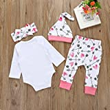 Raptop Newborn 4PC Girls Clothes Baby Romper Outfit Pants Set Long Sleeve+ hat Winter Clothing 12-18 months, White(1)