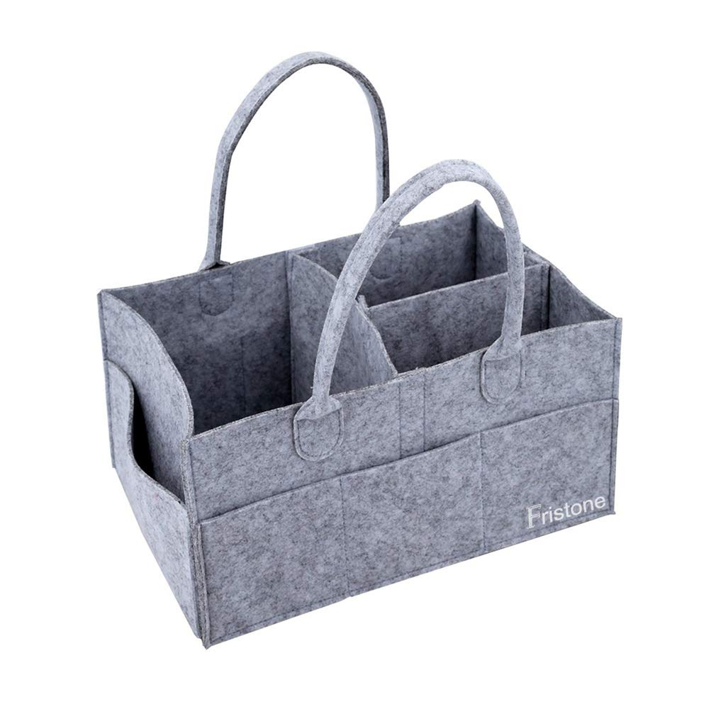FRISTONE Cajas para pañales Nursery almacenamiento bin cesta de fieltro bolsa de organizador Basura pañales toallitas Bebé bolsa de almacenamiento Caddy para Bebés Diaper Nappy Bag
