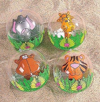 12-Pack Inflatable Clear Jungle Zoo Animal Beach (Animal Beach Ball)