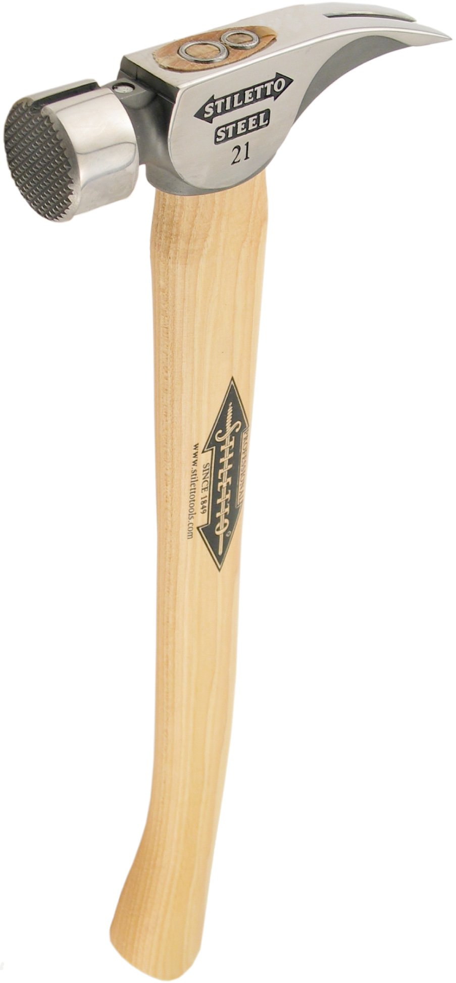 Stiletto REN21MC Steel 21 Milled Face Hammer with a Curved 18'' Hickory Handle