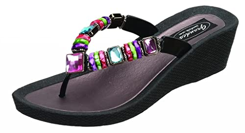 36b35903c Grandco 26462E Rainbow Wedge Black Sandal 6 US