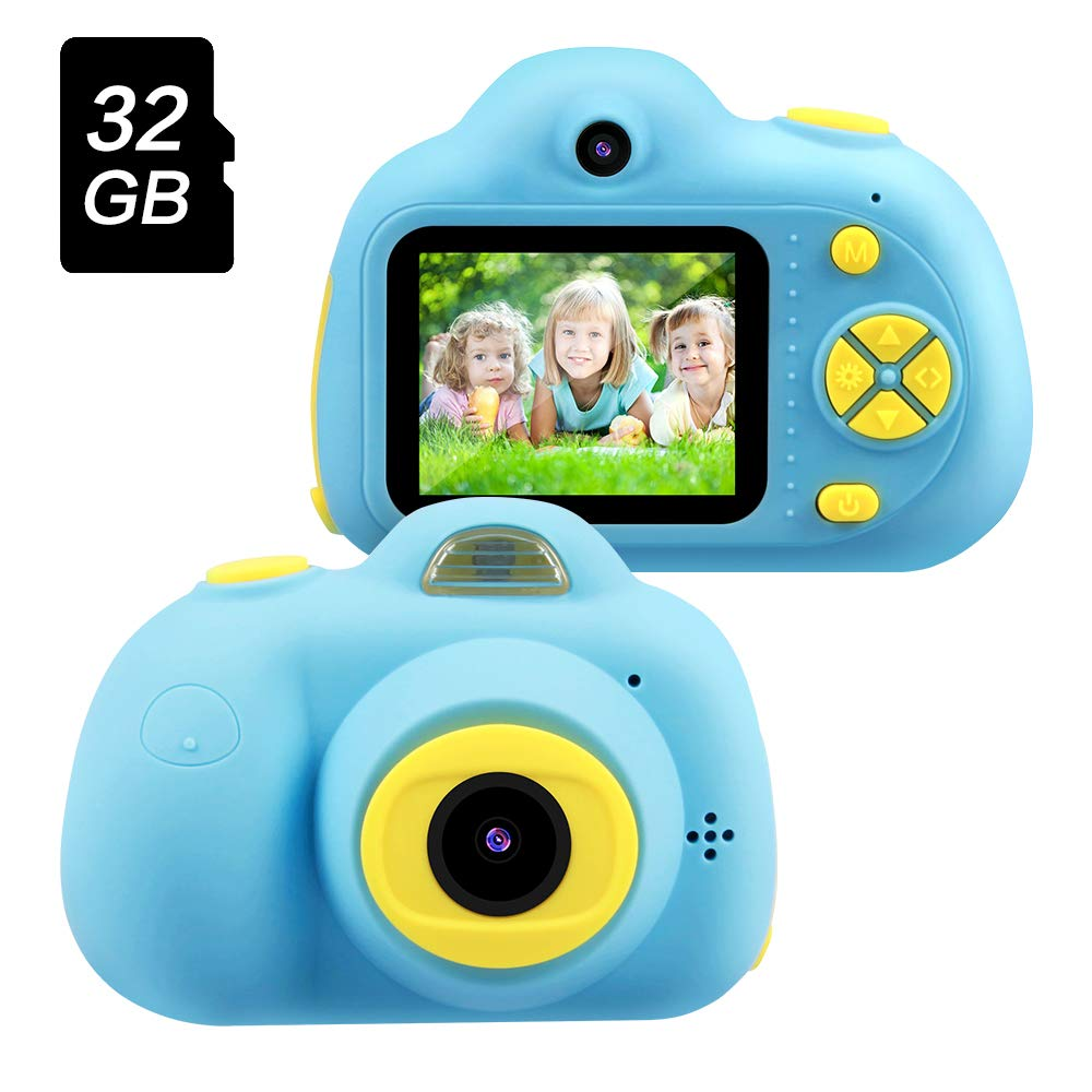 Best Birthday Gifts for Boys Age 3-8 OMWay Kids Digital Video Camera for Boys Toys for Boys 4 5 6 7 8 Year Old 8MP HD Camcorders Blue 32GB SD Card Included