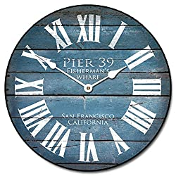 Pier 39 Blue Wall Clock, Available in 8 sizes, Most Sizes Ship 2 - 3 days, Whisper Quiet.