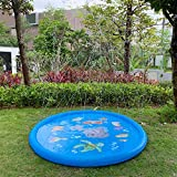 """Satkago 68"""" Sprinkler Pad Sprinkler for Kids , Water Play Mat Splash Play Pad Mat Water Outdoor Sprinkler Toy for Kids, Kids Outdoor Party Favors Party Sprinkler Toy"""