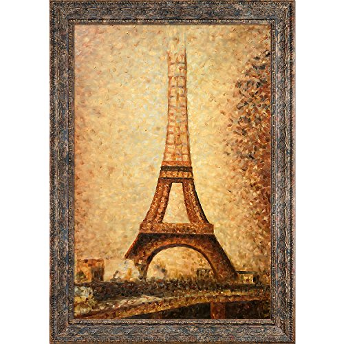(overstockArt The Eiffel Tower Frame by Seurat with Parisian Tortoise, Ornate Detail with Antique Tortoise Shell Finish)
