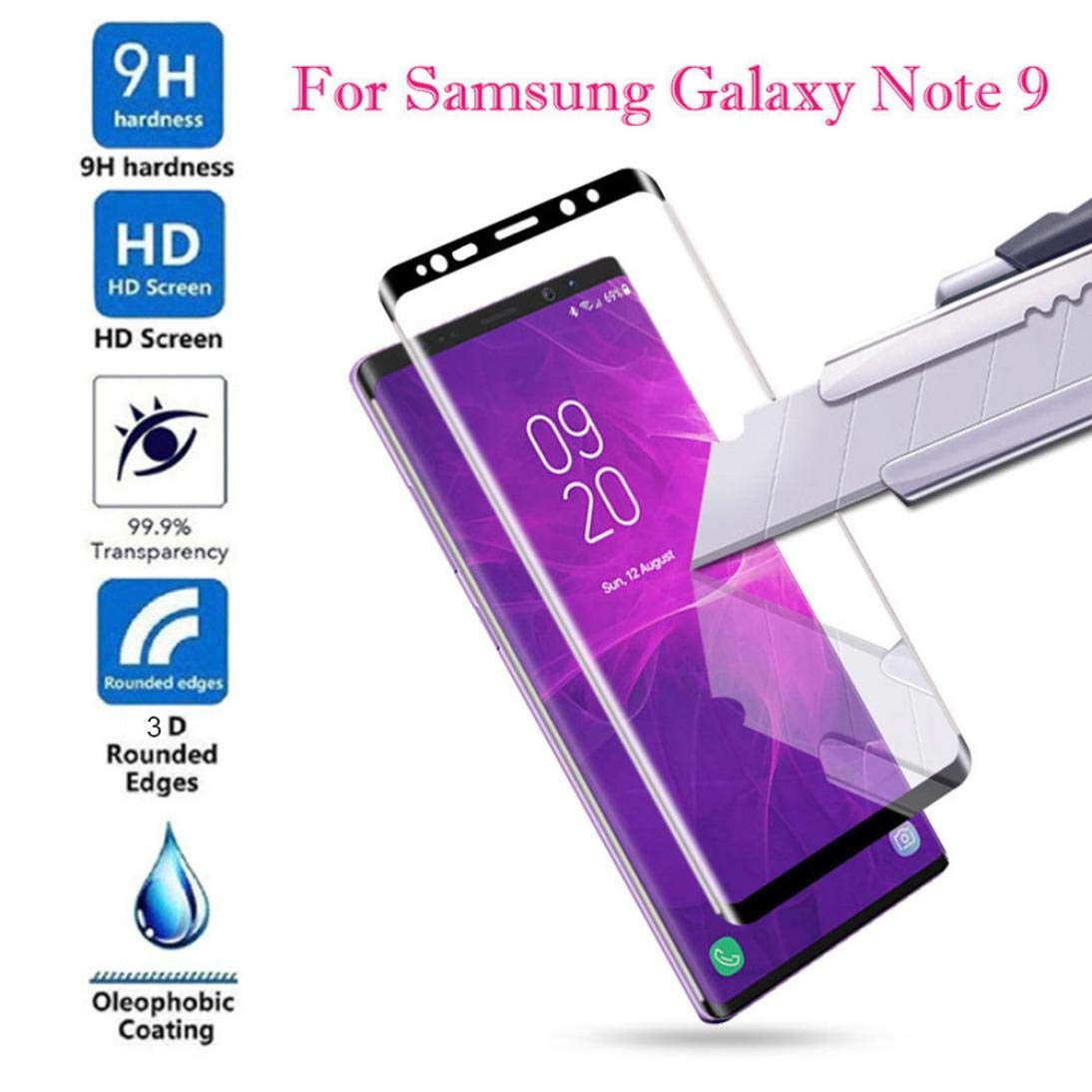 For Smasung Galaxy Note 9 Screen Protector, Iusun 3D Full Cover Curved Protector Screen Tempered Glass Film For Samsung Note 9 (Clear 1) Iusun Home Accessories