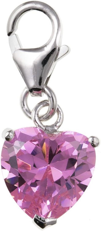 Zircones roses Coeur Pendentif Breloque /à Clip en argent Sterling 925 Charms-Charm de Style Thomas Sabo-livr/é dans pochette cadeau