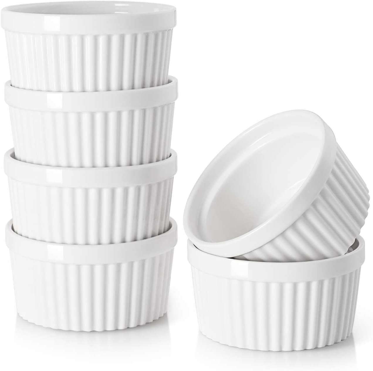 DOWAN 4 Oz Porcelain Ramekins - Souffle Dish Ramekins for Creme Brulee Pudding Oven Safe, Classic Style Ramekins Bowls for Baking, Set of 6, White