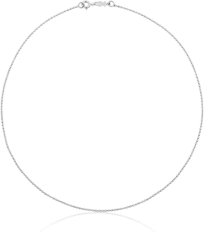 TOUS Collar cadena Mujer en plata de primera Ley, Anxho 0,14 cm, Largo 40 cm.