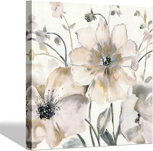 White Flowers Picture Floral Artwork Flower Blooming Canvas Painting Wall Art for Room Decoration 24 x 24 x 1 Panel