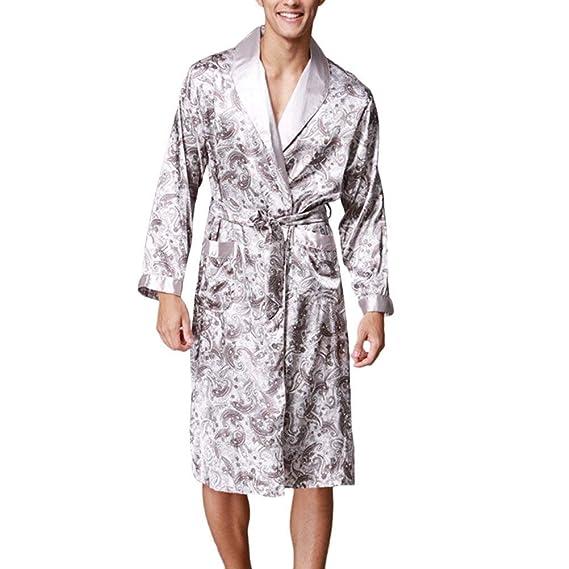 Hombre Kimono Primavera Otoño Moda Pijama Satín Elegante Casual Impreso Modernas Casual Batas Manga Larga V-Cuello con Cinturón Camisones Pijamas Mujer: ...