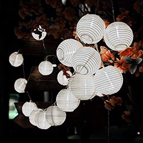ALLOMN Solar Lantern String Lights, 19.7ft 30LED Waterproof Garden Lantern, String Lights Fair Lights with Fabric Lantern Exterior and Interior Decoration for Christmas, Garden, Home, Yard White