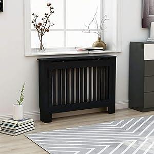 vidaXL Radiator Cover Heater Cover Cabinet Shelf Household Appliance Heating Accessories Home Improvement Funiture Wooden Cap Black MDF