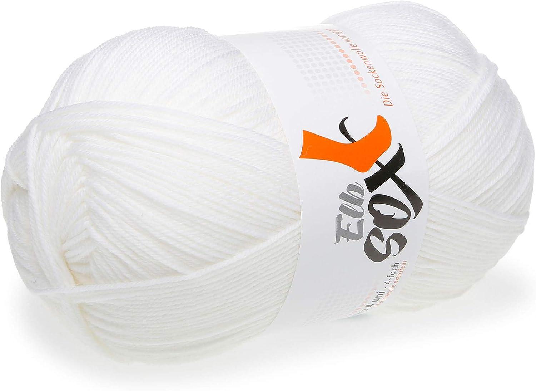 001 Blanco 4 Uni ElbSox Merino Calcetines de lana merina para tejer y hacer ganchillo