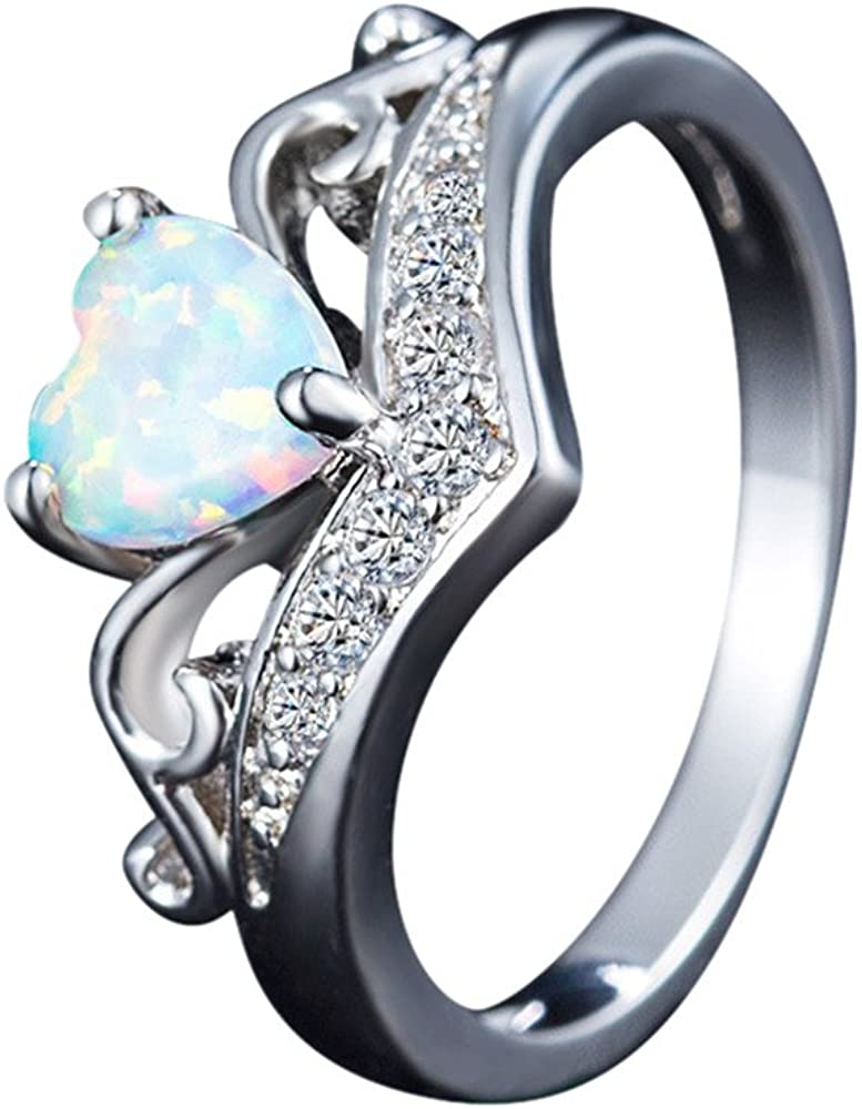 Yiwanjia 2-in-1 Diamond Silver Ring Heart Shape Ring Wedding Engagement Anniversary Party Ring