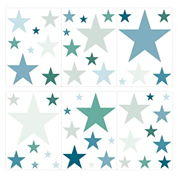 Wandtattoo Sterne Petrol grün Set dunkelgrün Kinderzimmer Deko