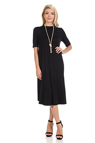 a77c98619d5c iconic luxe Women's Mock Neck Trapeze Midi Dress Solid and Floral ...