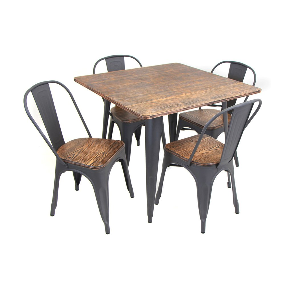 Amazon.com - WOYBR DS-TW-OR SQ Bamboo Metal Oregon 5 Piece Dining Set - Table u0026 Chair Sets  sc 1 st  Amazon.com & Amazon.com - WOYBR DS-TW-OR SQ Bamboo Metal Oregon 5 Piece Dining ...