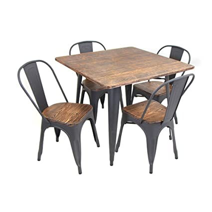 High Quality WOYBR DS TW OR SQ Bamboo, Metal Oregon 5 Piece Dining Set