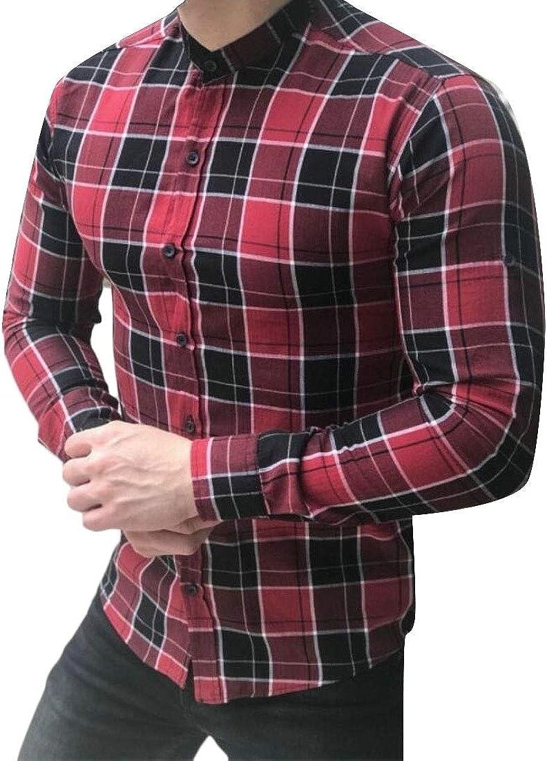 Tymhgt Mens Slim Fit Shirt Casual Long Sleeve Plaid Button Down Shirts