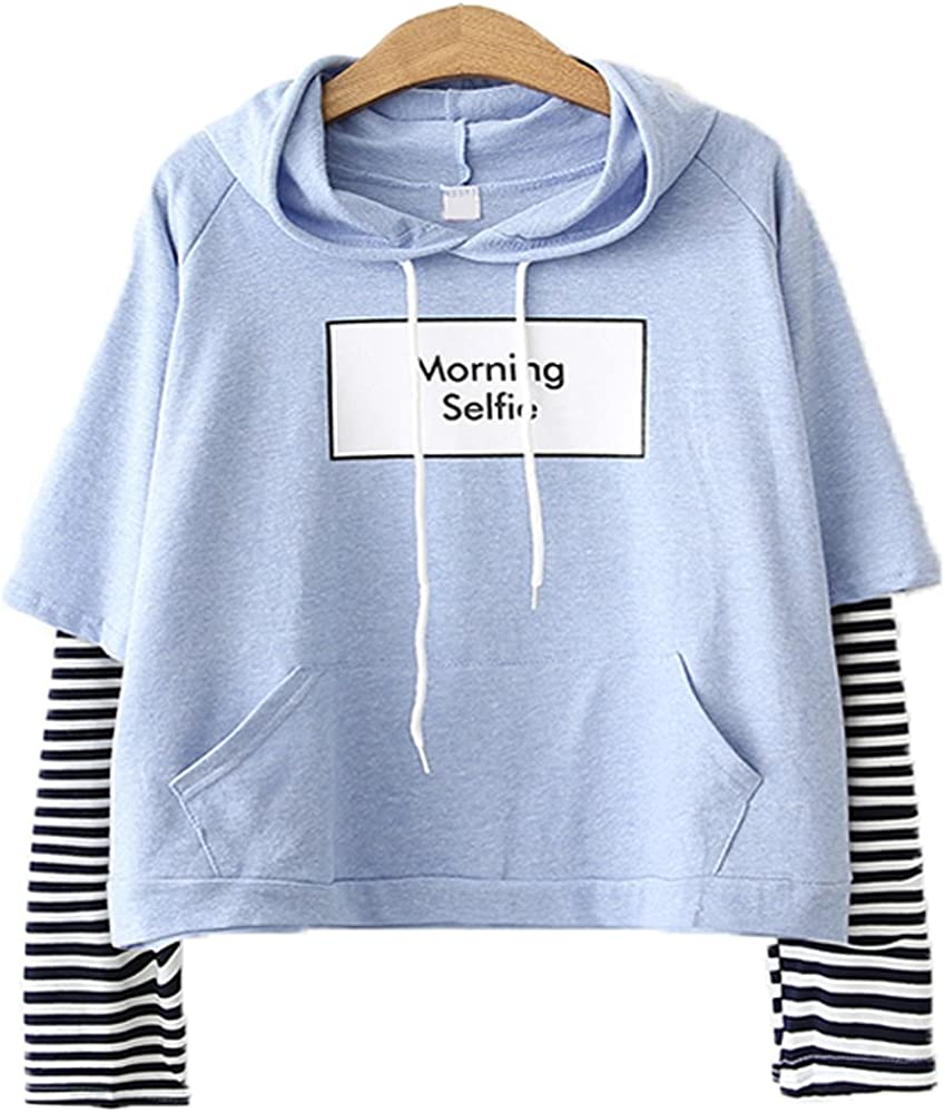 Packitcute Japanese Style Striped Long Sleeve Pullover Hooded Hoodies
