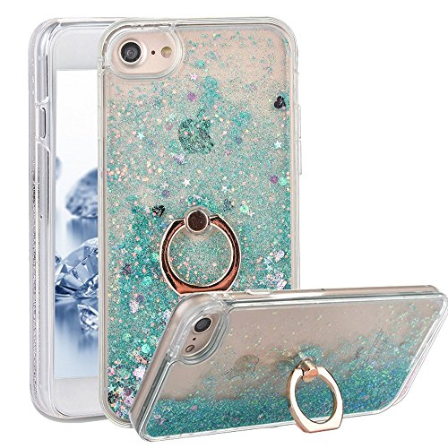 - iphone 7Plus 8Plus Case With Ring Liquid - USAcases Finger Ring Stand Holder Kickstand Quicksand Slim Fit Crystal Clear Floating Luxury Glitter Sparkle Diamond for iPhone 7plus/8plus (Love Green)