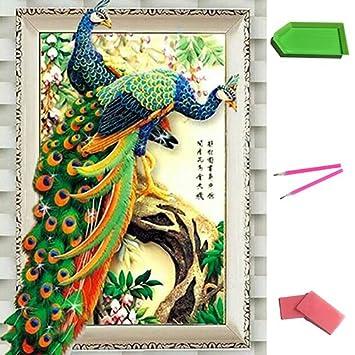 DIY 5D Pfau Diamant Stickerei Handwerk Malerei Kreuzstich Wohnzimmer Dekor