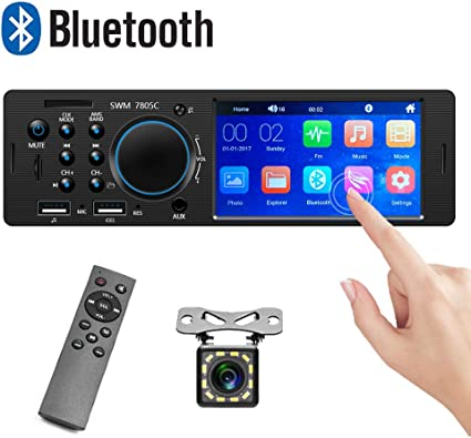 Camecho 1 Din Car Stereo Bluetooth FM Car Radio Audio MP3 Player with TF//SD//AUX//Dual USB Steering Wheel Remote Control Port Data//Fast Charging
