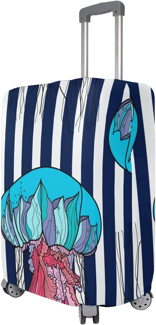OREZI 3D Colorful Jellyfish Luggage Protector Suitcase Cover 18-32 Inch
