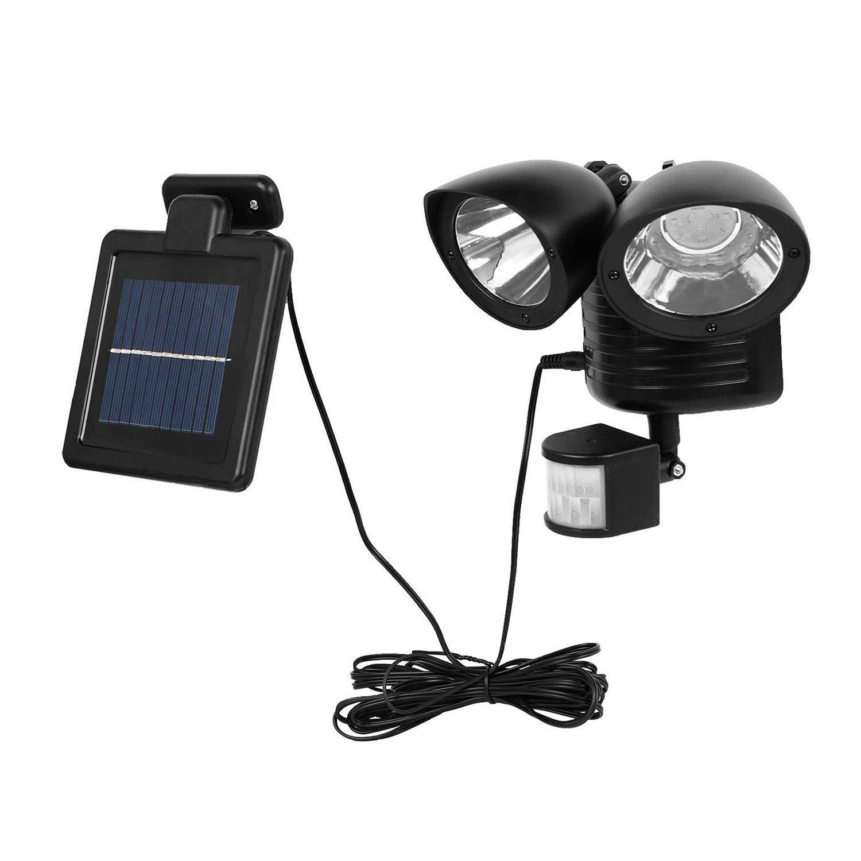 Toolmore 22 LED Luz de punto solar detector de seguridad dual Foco exterior de sensor de movimiento