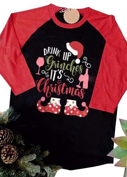 68aa8621 Amazon.com: UNIQUEONE Drink Up Grinches It's Christmas T-Shirt Women Raglan  3/4 Sleeve O-Neck Xmas Baseball Tops Tee: Clothing